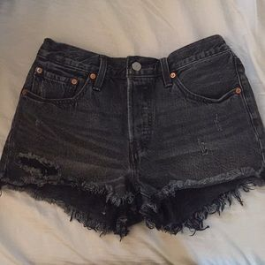 High-waisted distressed cut-off Levi's shorts